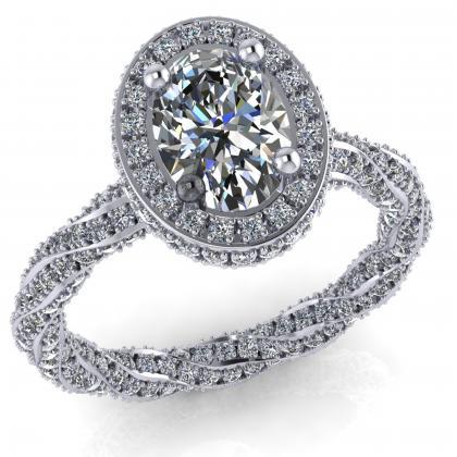 Oval 1 ct os gyémánt gyűrű Gatto Matto Ovál