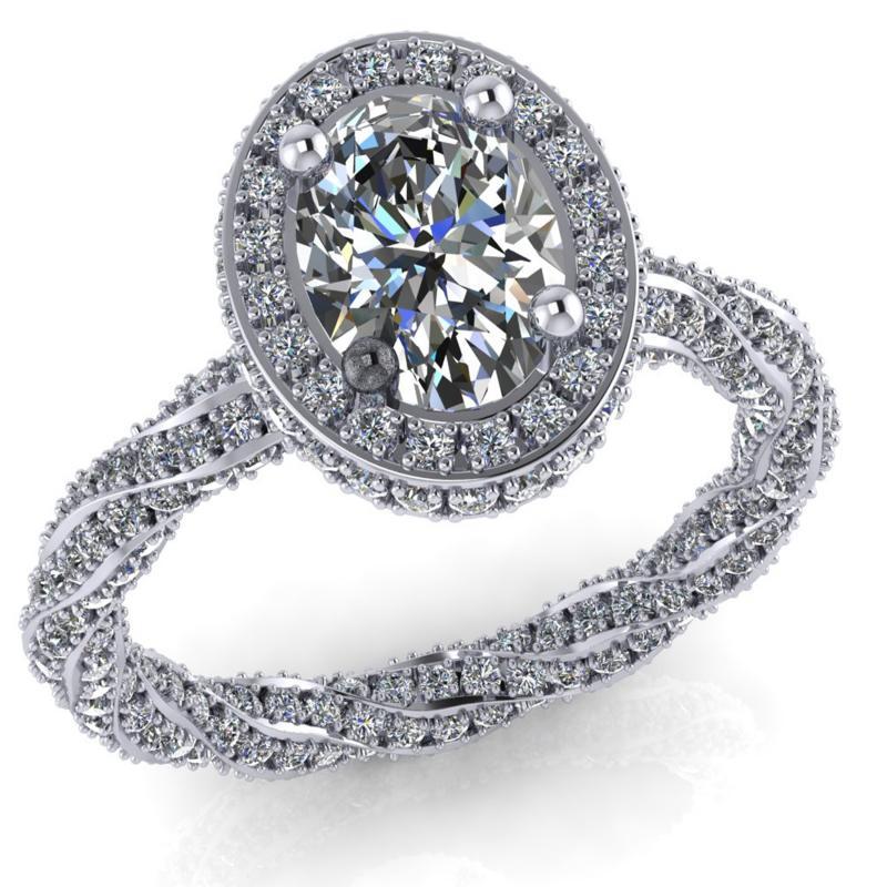 Oval 1 ct os gyémánt gyűrű
