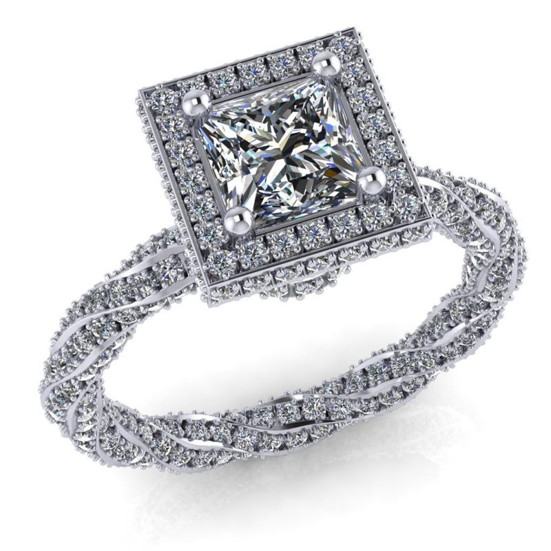 1 ct os Princess gyémánt gyűrű